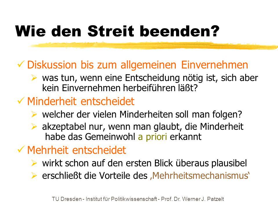 TU Dresden - Institut für Politikwissenschaft - Prof. Dr. Werner J. Patzelt Wie den Streit beenden? Diskussion bis zum allgemeinen Einvernehmen  was
