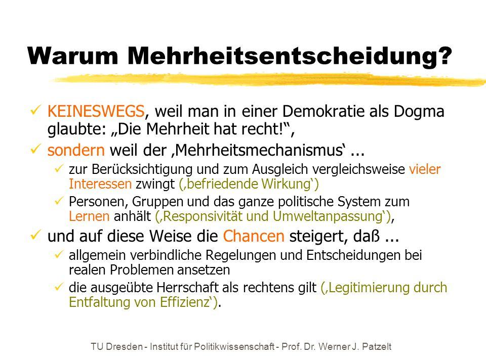 TU Dresden - Institut für Politikwissenschaft - Prof. Dr. Werner J. Patzelt Warum Mehrheitsentscheidung? KEINESWEGS, weil man in einer Demokratie als