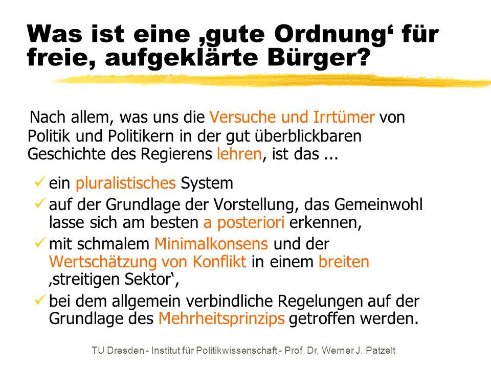 TU Dresden - Institut für Politikwissenschaft - Prof. Dr. Werner J. Patzelt Was ist eine 'gute Ordnung' für freie, aufgeklärte Bürger? Nach allem, was