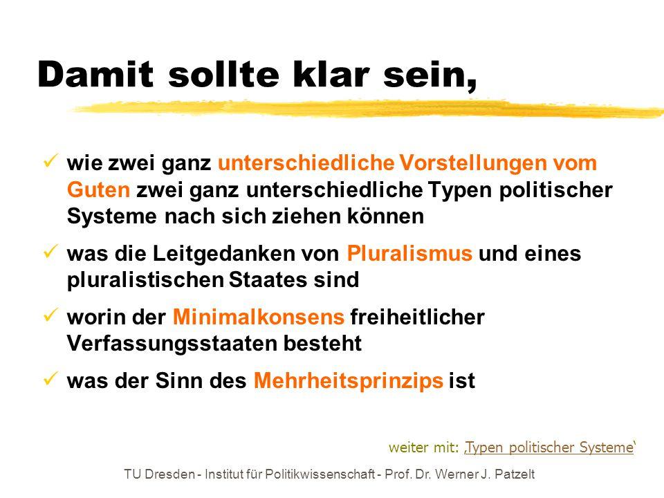 TU Dresden - Institut für Politikwissenschaft - Prof. Dr. Werner J. Patzelt Damit sollte klar sein, wie zwei ganz unterschiedliche Vorstellungen vom G
