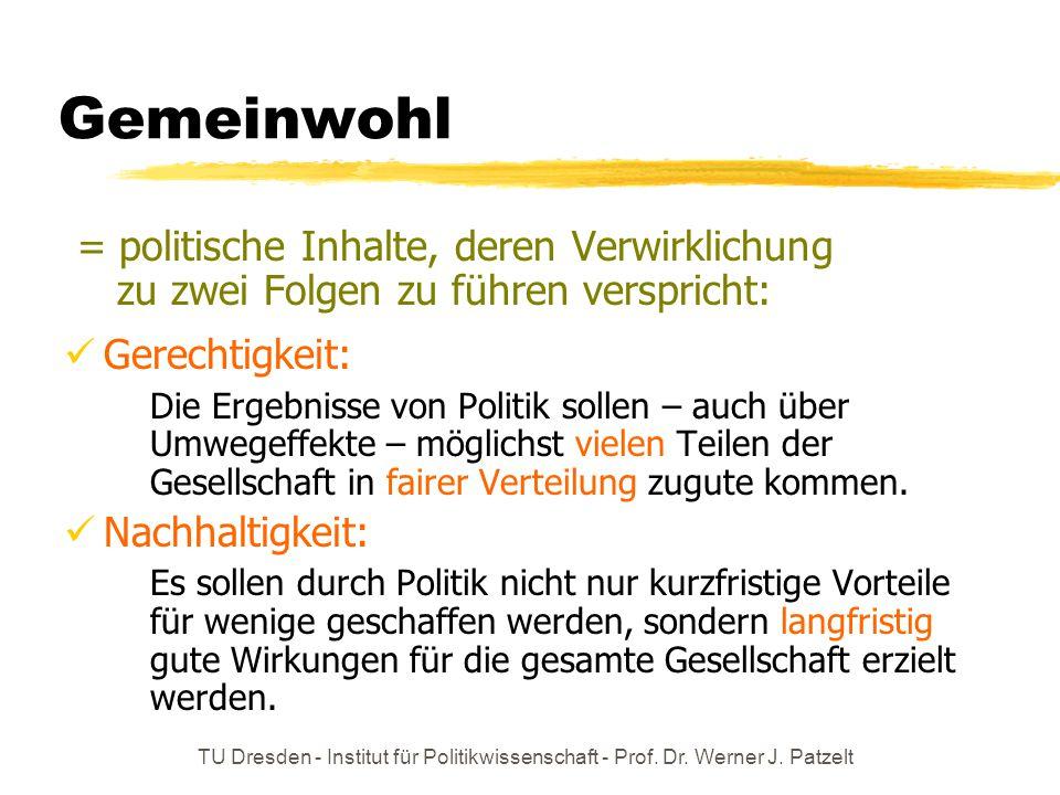 TU Dresden - Institut für Politikwissenschaft - Prof. Dr. Werner J. Patzelt Gemeinwohl = politische Inhalte, deren Verwirklichung zu zwei Folgen zu fü