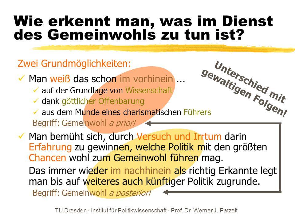 TU Dresden - Institut für Politikwissenschaft - Prof. Dr. Werner J. Patzelt Wie erkennt man, was im Dienst des Gemeinwohls zu tun ist? Unterschied mit