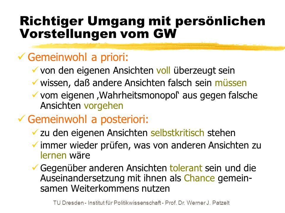 TU Dresden - Institut für Politikwissenschaft - Prof. Dr. Werner J. Patzelt Richtiger Umgang mit persönlichen Vorstellungen vom GW Gemeinwohl a priori