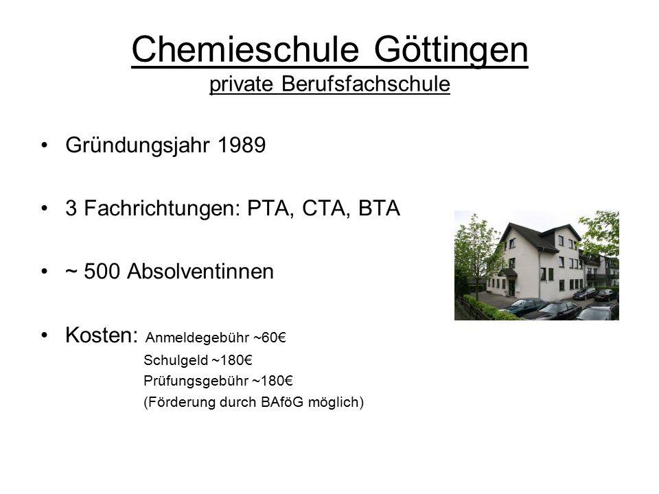 Chemieschule Göttingen private Berufsfachschule Gründungsjahr 1989 3 Fachrichtungen: PTA, CTA, BTA ~ 500 Absolventinnen Kosten: Anmeldegebühr ~60€ Schulgeld ~180€ Prüfungsgebühr ~180€ (Förderung durch BAföG möglich)