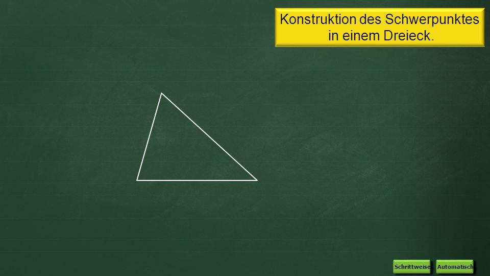 Konstruktion des Schwerpunktes in einem Dreieck. Automatisch Schrittweise