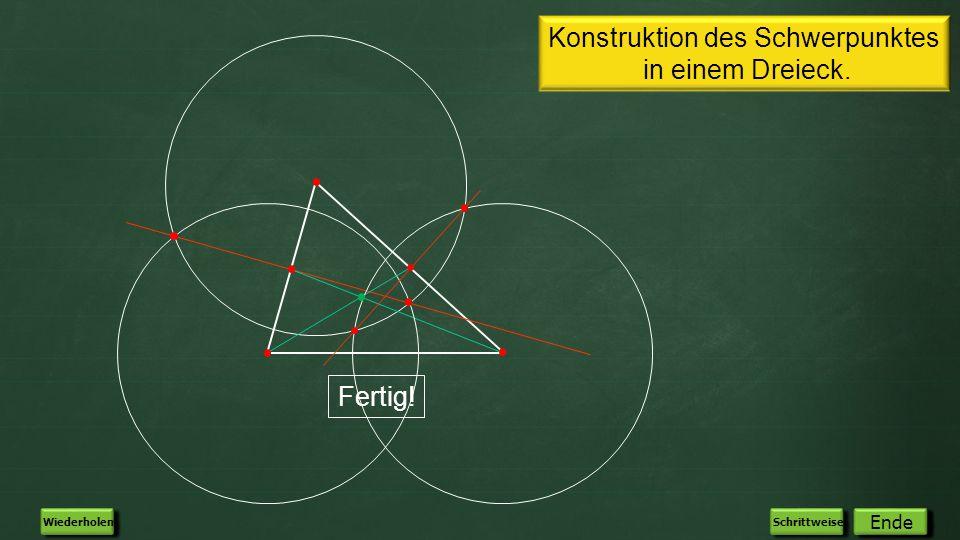 Konstruktion des Schwerpunktes in einem Dreieck.