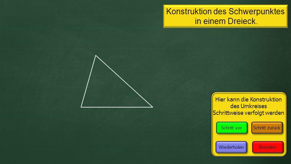 Konstruktion des Schwerpunktes in einem Dreieck.Fertig.