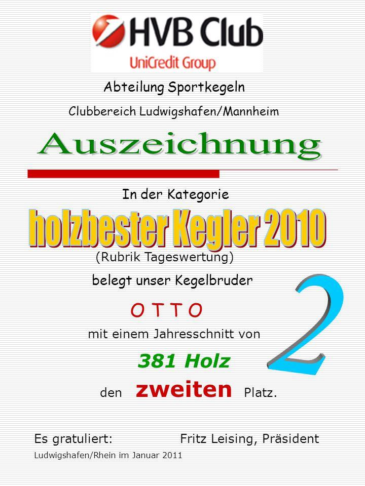 Abteilung Sportkegeln In der Kategorie Clubbereich Ludwigshafen/Mannheim belegt unser Kegelbruder O T T O mit einem Jahresschnitt von 381 Holz den zwe