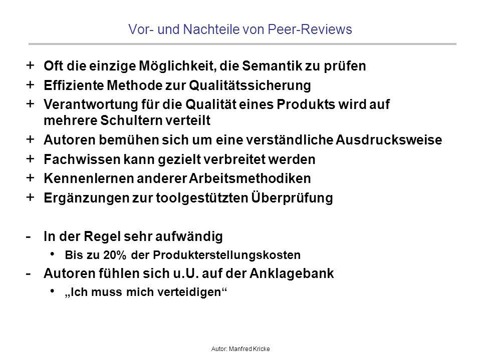 Autor: Manfred Kricke Vor- und Nachteile von Peer-Reviews + Oft die einzige Möglichkeit, die Semantik zu prüfen + Effiziente Methode zur Qualitätssich