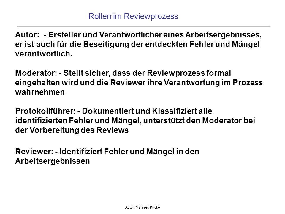 Autor: Manfred Kricke Rollen im Reviewprozess Autor: - Ersteller und Verantwortlicher eines Arbeitsergebnisses, er ist auch für die Beseitigung der en