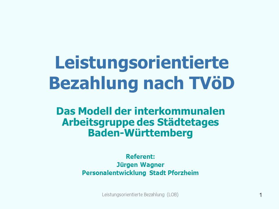Leistungsorientierte Bezahlung (LOB) 1 Leistungsorientierte Bezahlung nach TVöD Das Modell der interkommunalen Arbeitsgruppe des Städtetages Baden-Wür