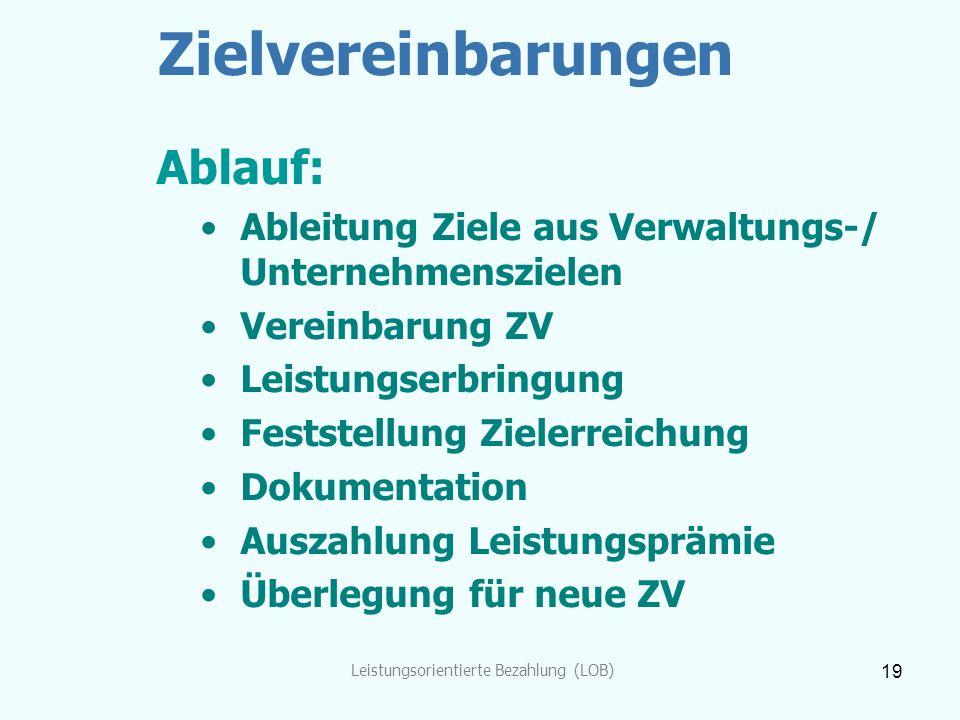 Leistungsorientierte Bezahlung (LOB) 19 Zielvereinbarungen Ablauf: Ableitung Ziele aus Verwaltungs-/ Unternehmenszielen Vereinbarung ZV Leistungserbri