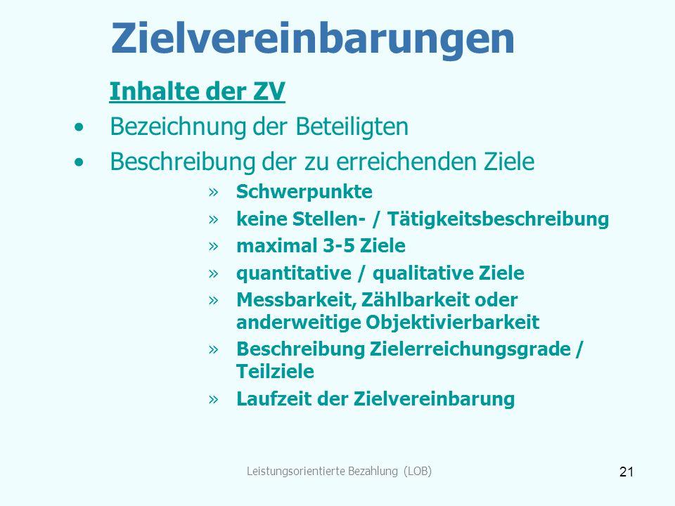 Leistungsorientierte Bezahlung (LOB) 21 Zielvereinbarungen Inhalte der ZV Bezeichnung der Beteiligten Beschreibung der zu erreichenden Ziele »Schwerpu