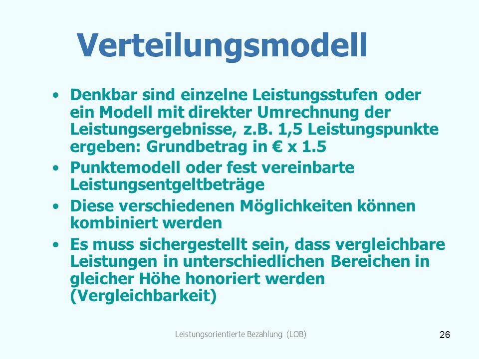 Leistungsorientierte Bezahlung (LOB) 26 Verteilungsmodell Denkbar sind einzelne Leistungsstufen oder ein Modell mit direkter Umrechnung der Leistungse
