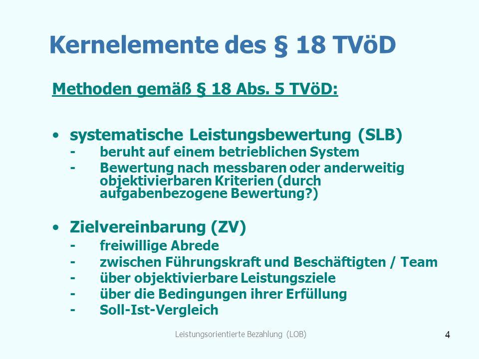 Leistungsorientierte Bezahlung (LOB) 4 Kernelemente des § 18 TVöD Methoden gemäß § 18 Abs. 5 TVöD: systematische Leistungsbewertung (SLB) -beruht auf