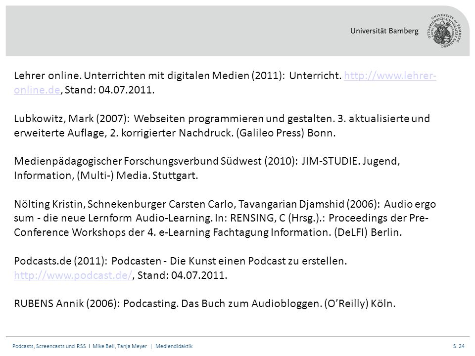 S. 24Podcasts, Screencasts und RSS I Mike Bell, Tanja Meyer | Mediendidaktik Lehrer online.