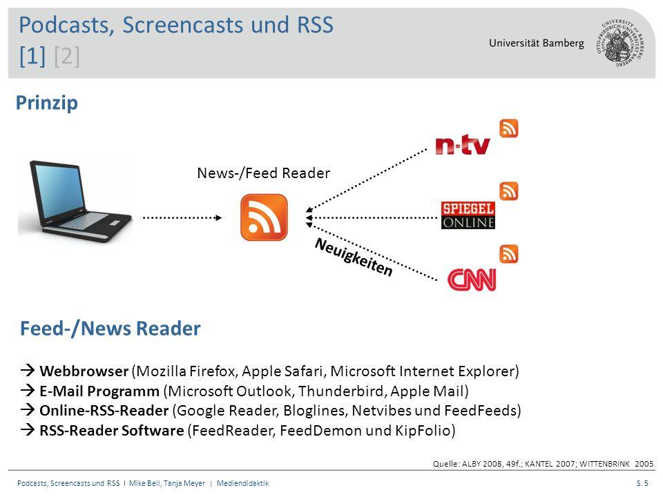 S. 5Podcasts, Screencasts und RSS I Mike Bell, Tanja Meyer | Mediendidaktik News-/Feed Reader Neuigkeiten Prinzip Quelle: ALBY 2008, 49f.; KANTEL 2007