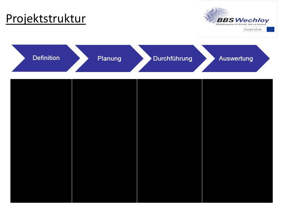 Projektstruktur Definition PlanungDurchführungAuswertung Thema finden Ziele definieren Handlungs- produkte? Projekt strukturieren Arbeitspakete festle