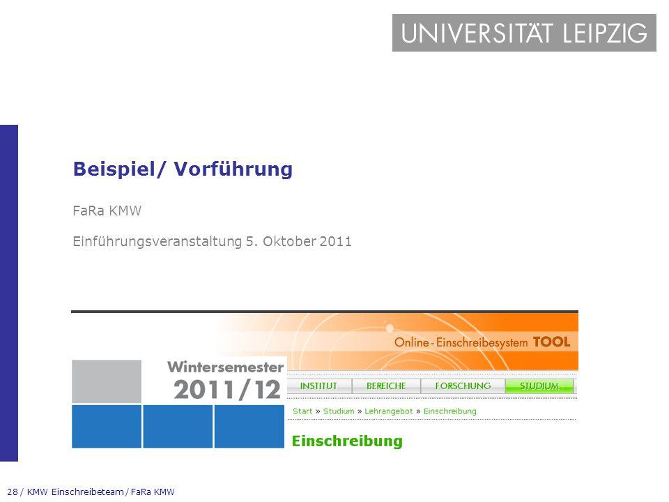 28 / KMW Einschreibeteam / FaRa KMW Beispiel/ Vorführung FaRa KMW Einführungsveranstaltung 5. Oktober 2011