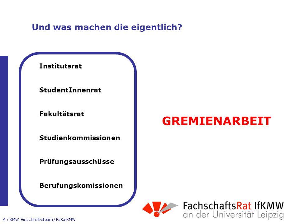 15 / KMW Einschreibeteam / FaRa KMW Stichwort Wahlbereich 3 Möglichkeiten, wie man seinen Wahlbereich (80LP) gestalten kann 1.Großer Wahlbereich = min.