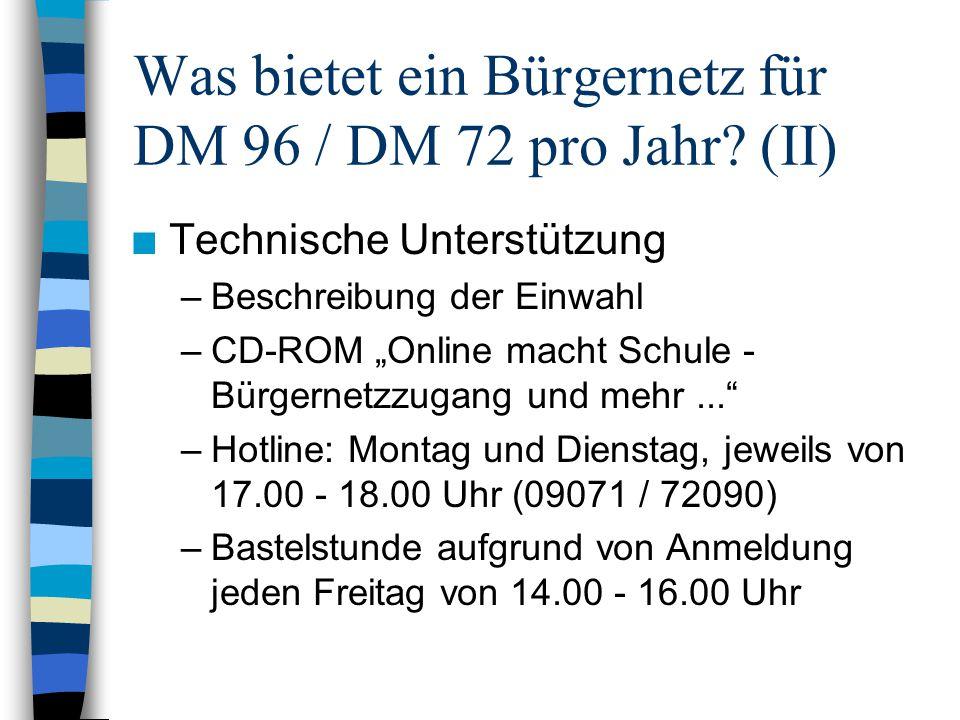 """Was bietet ein Bürgernetz für DM 96 / DM 72 pro Jahr? (II) n Technische Unterstützung –Beschreibung der Einwahl –CD-ROM """"Online macht Schule - Bürgern"""