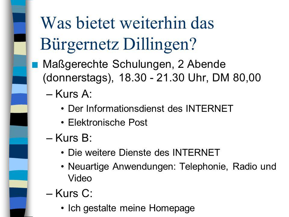 Was bietet weiterhin das Bürgernetz Dillingen.