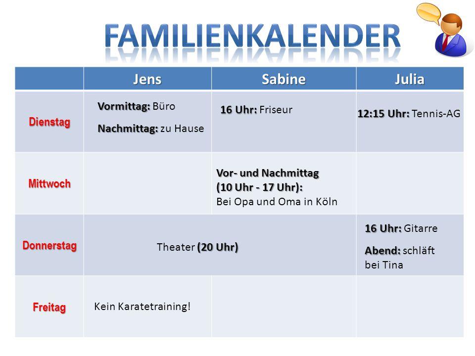 JensSabineJuliaDienstag Mittwoch Donnerstag Freitag Vormittag: Büro Nachmittag: zu Hause Kein Karatetraining! (20 Uhr) Theater (20 Uhr) 16 Uhr: 16 Uhr
