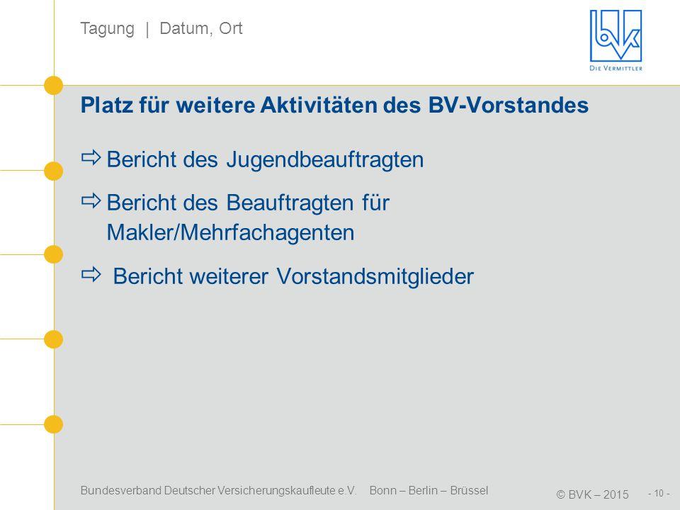 Bundesverband Deutscher Versicherungskaufleute e.V. Bonn – Berlin – Brüssel © BVK – 2015 Tagung | Datum, Ort - 10 - Platz für weitere Aktivitäten des