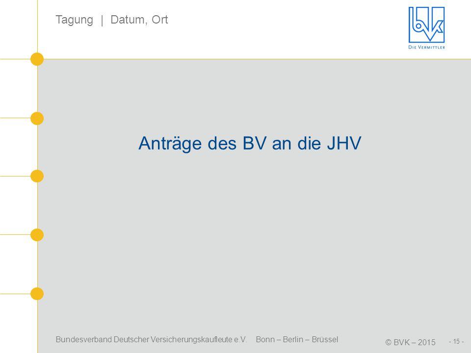 Bundesverband Deutscher Versicherungskaufleute e.V. Bonn – Berlin – Brüssel © BVK – 2015 Tagung | Datum, Ort - 15 - Anträge des BV an die JHV