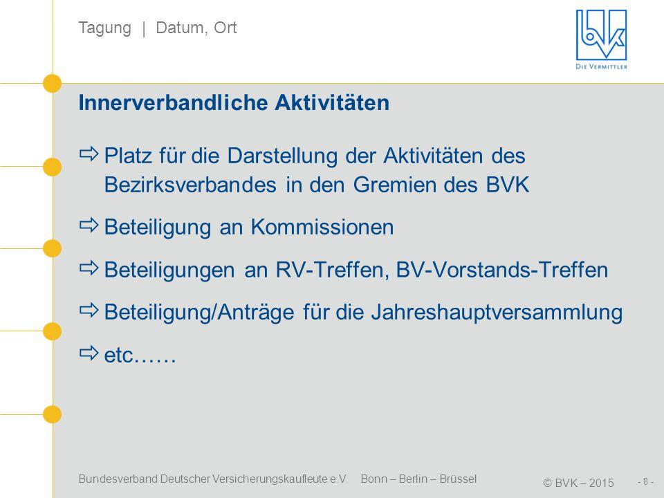 Bundesverband Deutscher Versicherungskaufleute e.V. Bonn – Berlin – Brüssel © BVK – 2015 Tagung | Datum, Ort - 8 - Innerverbandliche Aktivitäten  Pla