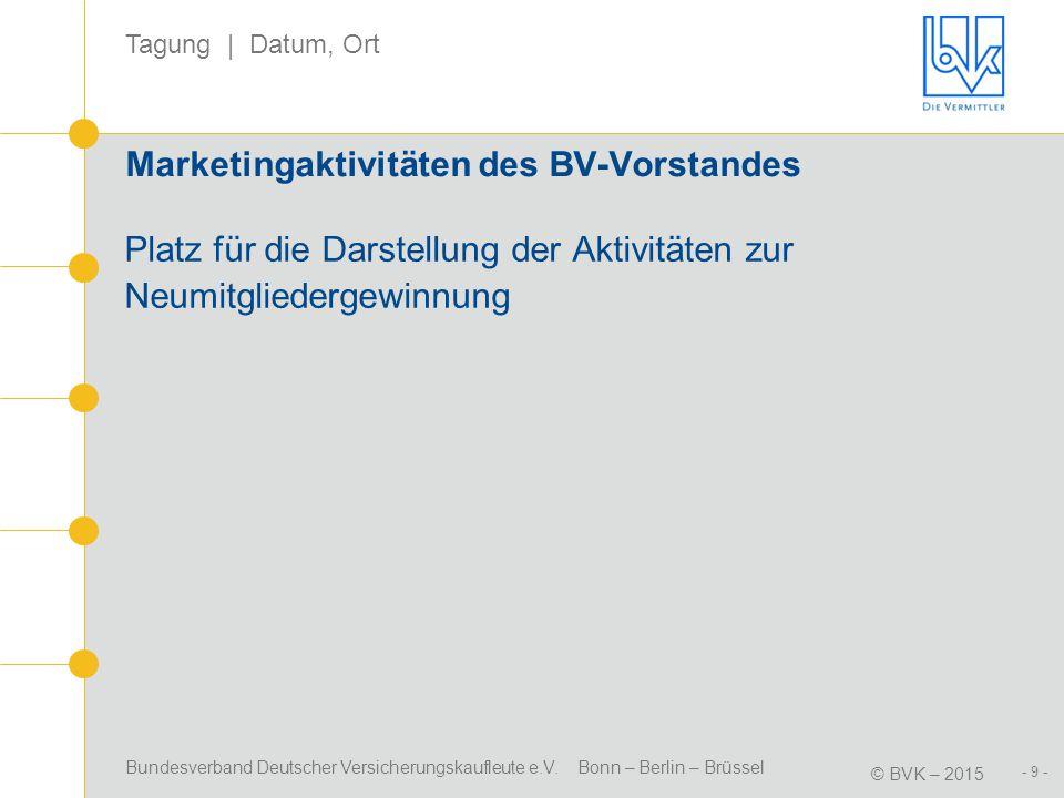 Bundesverband Deutscher Versicherungskaufleute e.V. Bonn – Berlin – Brüssel © BVK – 2015 Tagung | Datum, Ort - 9 - Marketingaktivitäten des BV-Vorstan