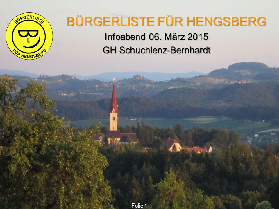 BÜRGERLISTE FÜR HENGSBERG BÜRGERLISTE FÜR HENGSBERG Infoabend 06. März 2015 Infoabend 06. März 2015 GH Schuchlenz-Bernhardt GH Schuchlenz-Bernhardt Fo