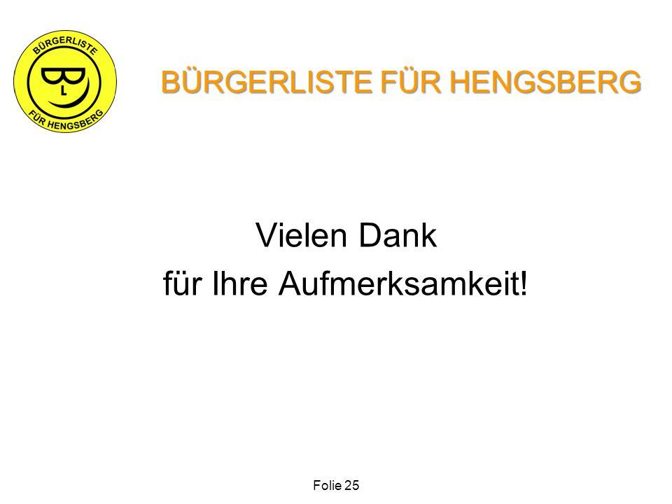 Vielen Dank für Ihre Aufmerksamkeit! BÜRGERLISTE FÜR HENGSBERG Folie 25