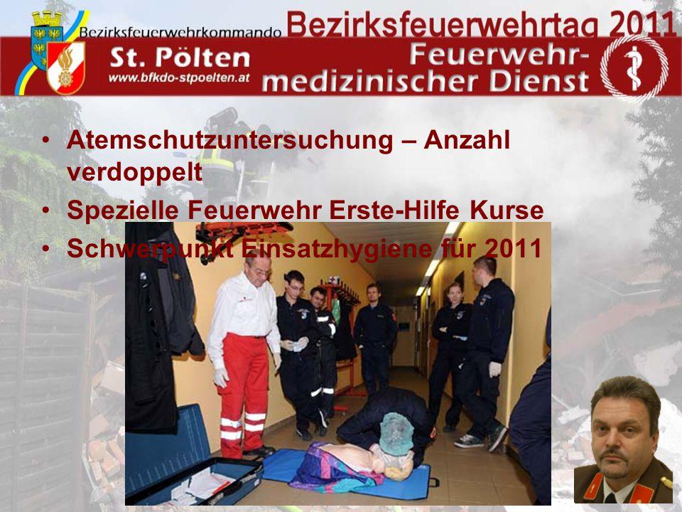 Atemschutzuntersuchung – Anzahl verdoppelt Spezielle Feuerwehr Erste-Hilfe Kurse Schwerpunkt Einsatzhygiene für 2011