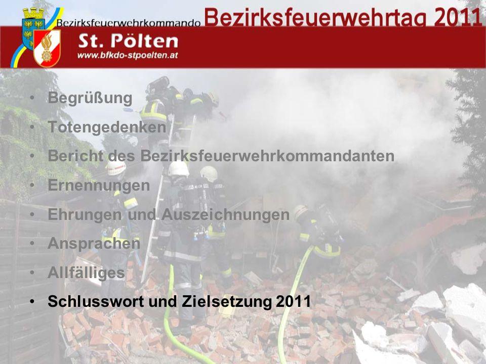 Begrüßung Totengedenken Bericht des Bezirksfeuerwehrkommandanten Ernennungen Ehrungen und Auszeichnungen Ansprachen Allfälliges Schlusswort und Zielsetzung 2011