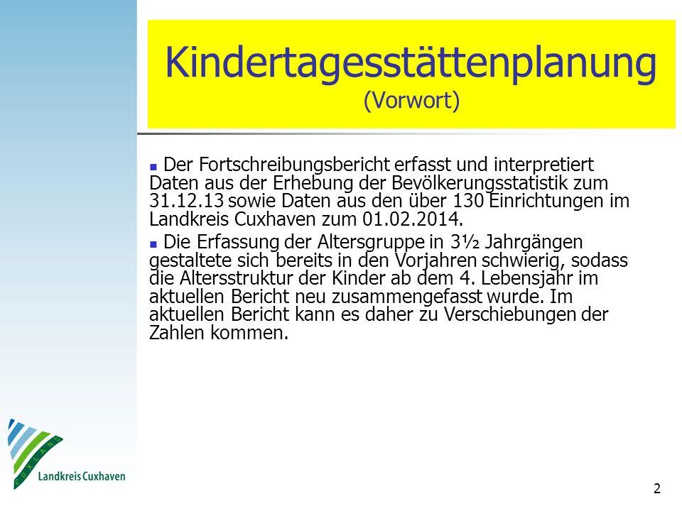 2 Kindertagesstättenplanung (Vorwort) Der Fortschreibungsbericht erfasst und interpretiert Daten aus der Erhebung der Bevölkerungsstatistik zum 31.12.13 sowie Daten aus den über 130 Einrichtungen im Landkreis Cuxhaven zum 01.02.2014.