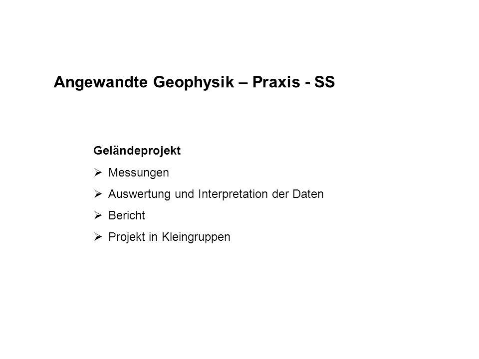 Angewandte Geophysik – Praxis - SS Geländeprojekt  Messungen  Auswertung und Interpretation der Daten  Bericht  Projekt in Kleingruppen