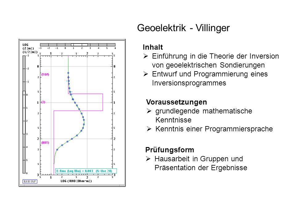 Geoelektrik - Villinger Inhalt  Einführung in die Theorie der Inversion von geoelektrischen Sondierungen  Entwurf und Programmierung eines Inversion