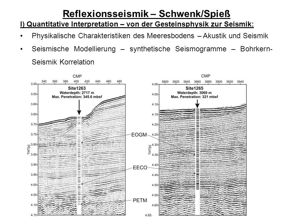 Reflexionsseismik – Schwenk/Spieß I) Quantitative Interpretation – von der Gesteinsphysik zur Seismik: Physikalische Charakteristiken des Meeresbodens