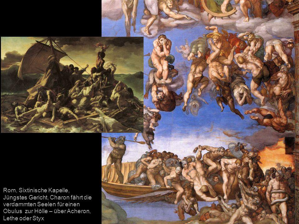 Rom, Sixtinische Kapelle, Jüngstes Gericht, Charon fährt die verdammten Seelen für einen Obulus zur Hölle – über Acheron, Lethe oder Styx