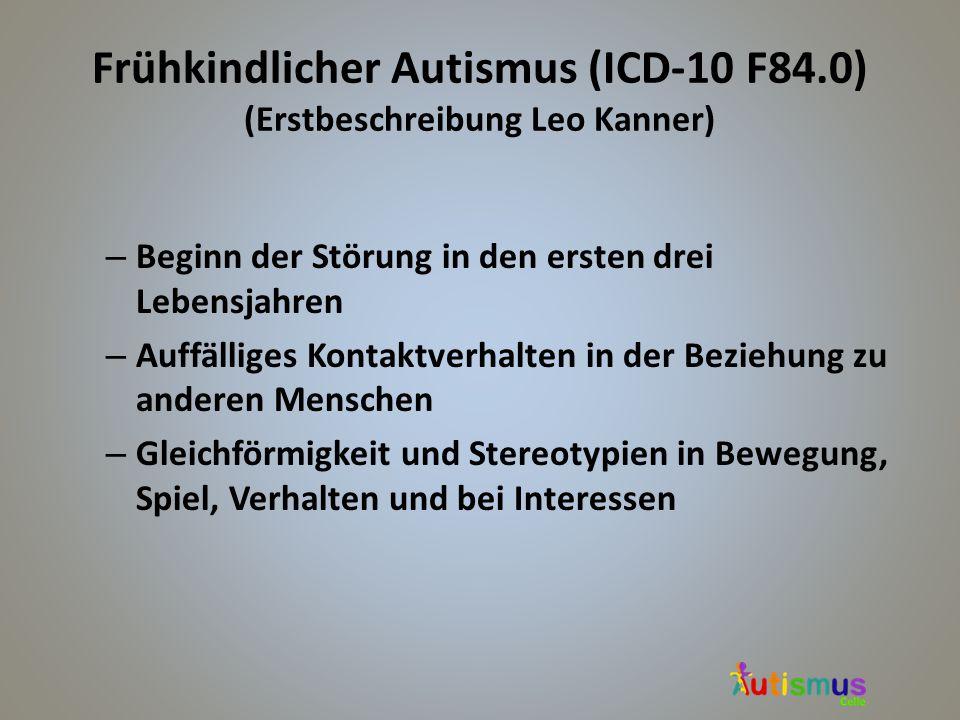 Frühkindlicher Autismus (ICD-10 F84.0) (Erstbeschreibung Leo Kanner) – Beginn der Störung in den ersten drei Lebensjahren – Auffälliges Kontaktverhalt