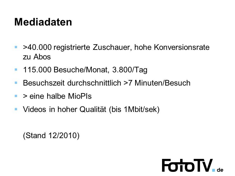 Mediadaten  >40.000 registrierte Zuschauer, hohe Konversionsrate zu Abos  115.000 Besuche/Monat, 3.800/Tag  Besuchszeit durchschnittlich >7 Minuten/Besuch  > eine halbe MioPIs  Videos in hoher Qualität (bis 1Mbit/sek) (Stand 12/2010)