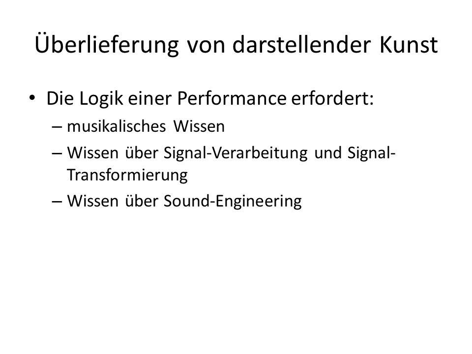 Überlieferung von darstellender Kunst Die Logik einer Performance erfordert: – musikalisches Wissen – Wissen über Signal-Verarbeitung und Signal- Transformierung – Wissen über Sound-Engineering