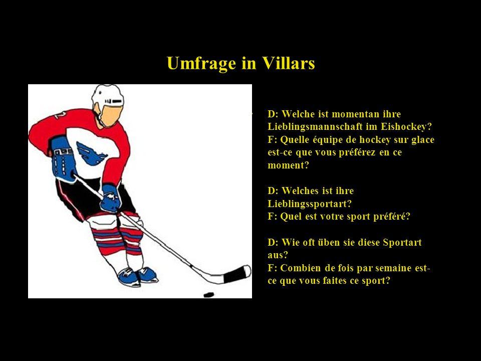 Umfrage in Villars D: Welche ist momentan ihre Lieblingsmannschaft im Eishockey.