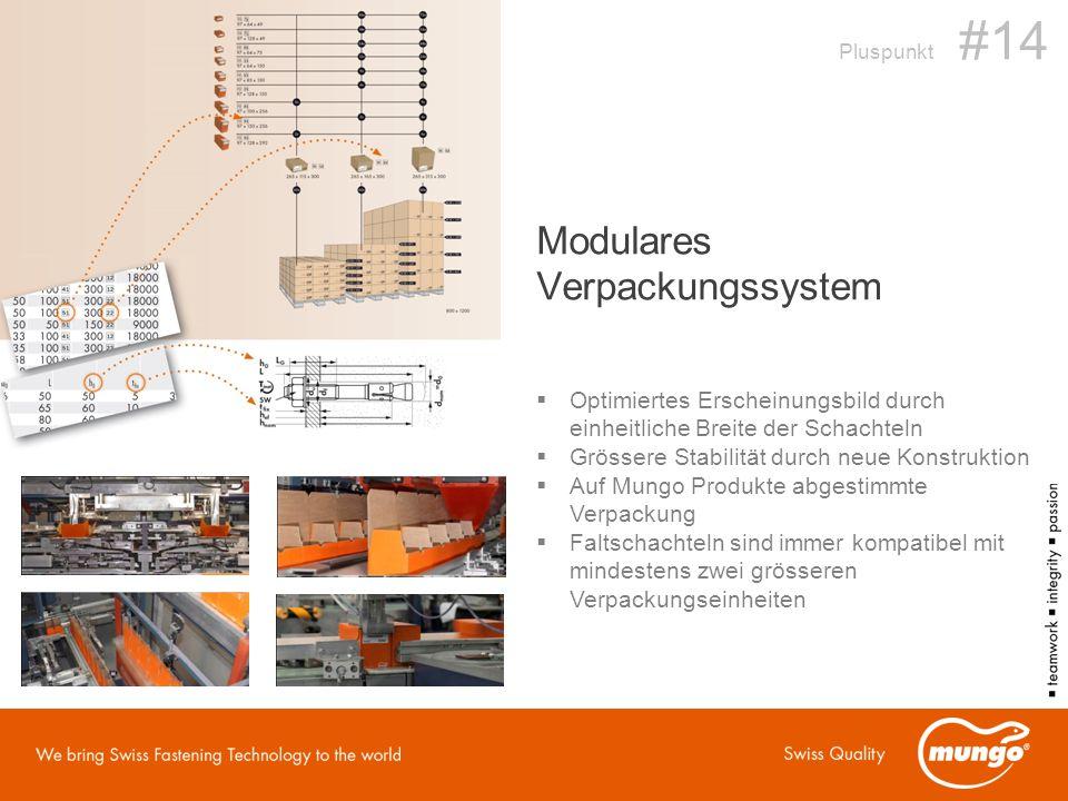 Modulares Verpackungssystem  Optimiertes Erscheinungsbild durch einheitliche Breite der Schachteln  Grössere Stabilität durch neue Konstruktion  Auf Mungo Produkte abgestimmte Verpackung  Faltschachteln sind immer kompatibel mit mindestens zwei grösseren Verpackungseinheiten Pluspunkt #14