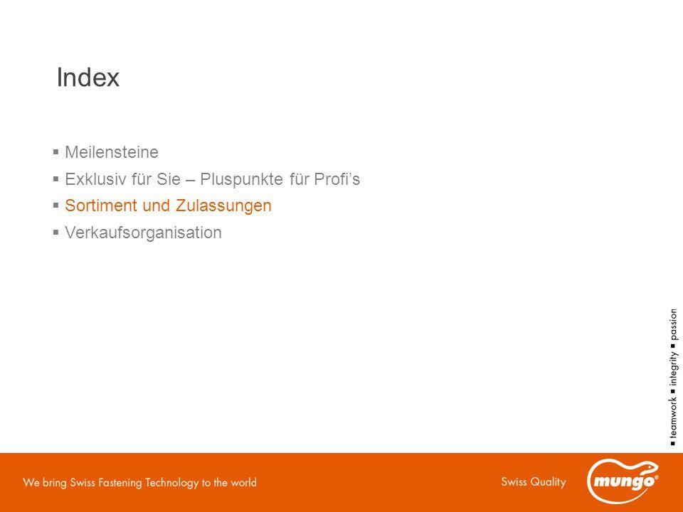 Index  Meilensteine  Exklusiv für Sie – Pluspunkte für Profi's  Sortiment und Zulassungen  Verkaufsorganisation