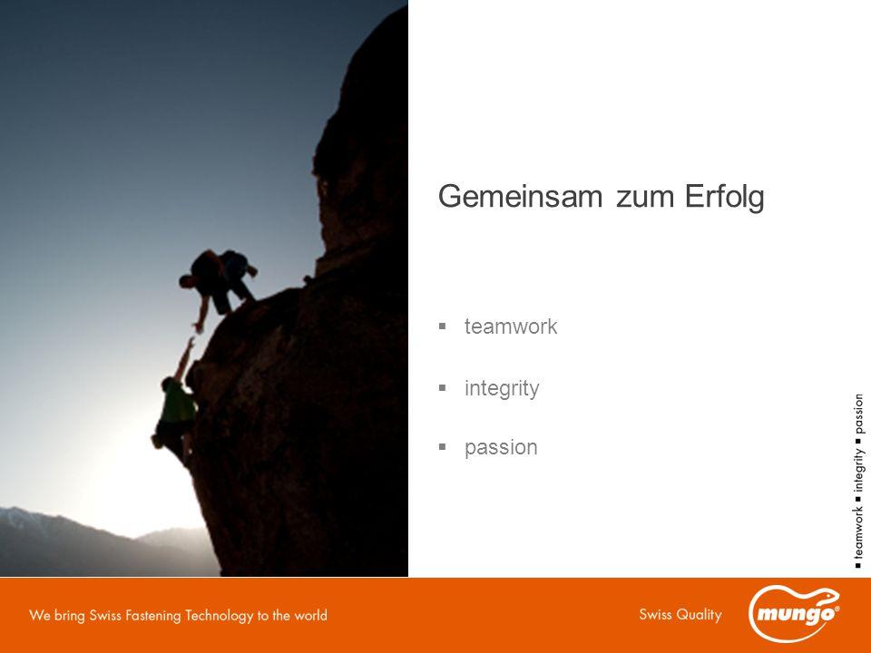 Gemeinsam zum Erfolg  teamwork  integrity  passion
