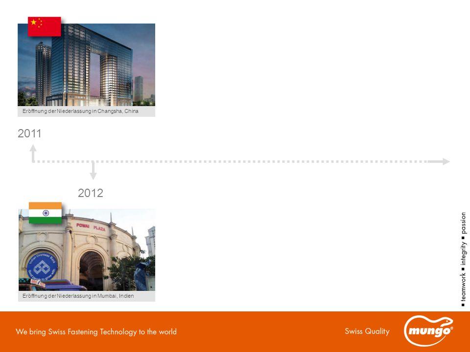 2011 2012 Eröffnung der Niederlassung in Changsha, China Eröffnung der Niederlassung in Mumbai, Indien