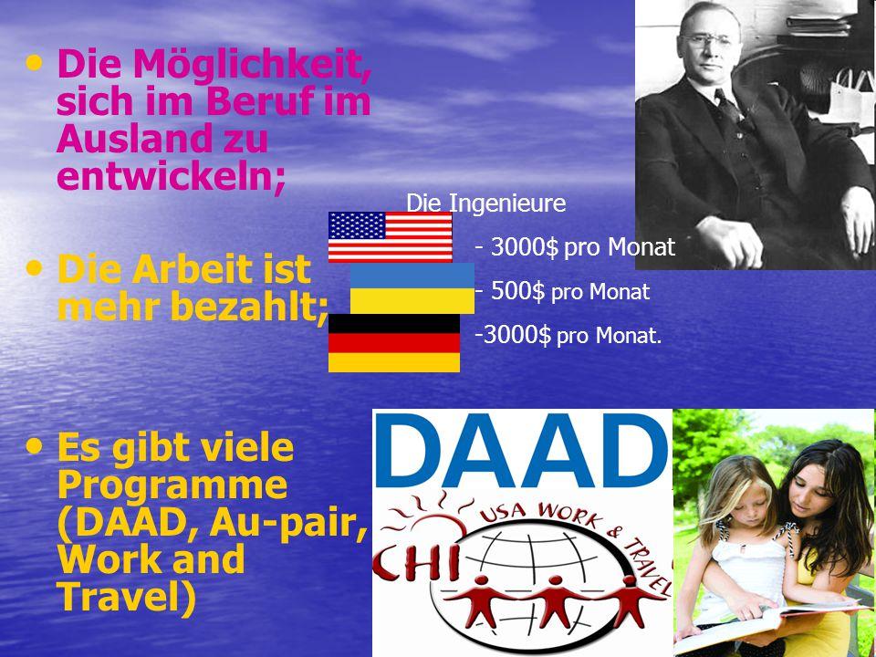 Die Möglichkeit, sich im Beruf im Ausland zu entwickeln; Die Arbeit ist mehr bezahlt; Es gibt viele Programme (DAAD, Au-pair, Work and Travel) Die Ing