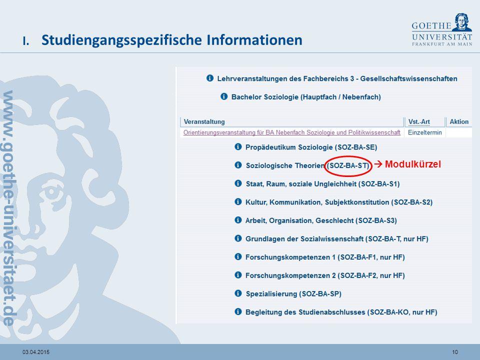 1003.04.2015 I. Studiengangsspezifische Informationen  Modulkürzel
